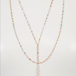 Lana Tri-tone long 14K gold Mega Blake Necklace